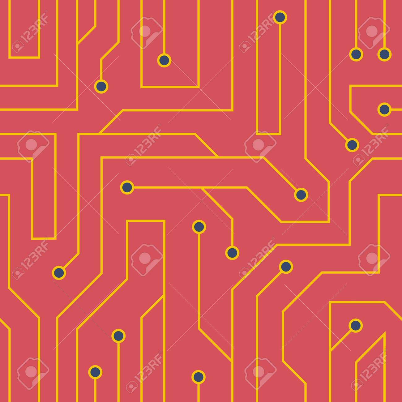 Flat Style Red Circuit Board Background. Electrical Scheme Seamless ...