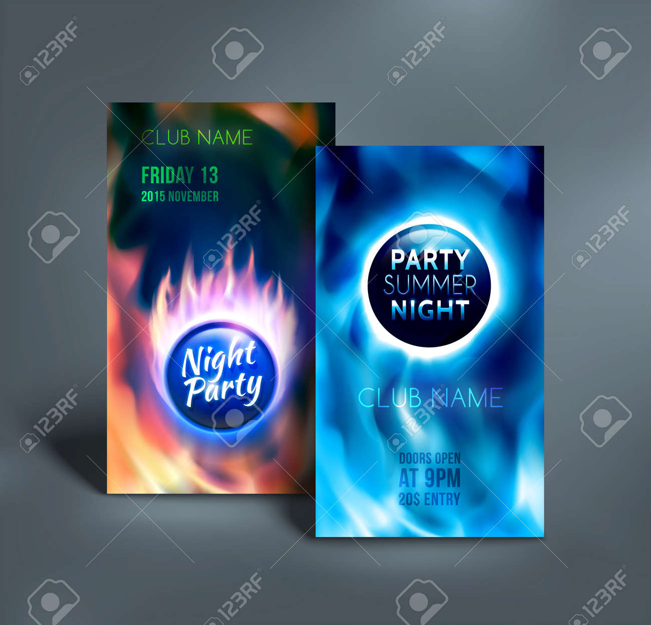 night club colorful flyer templates summer night party poster
