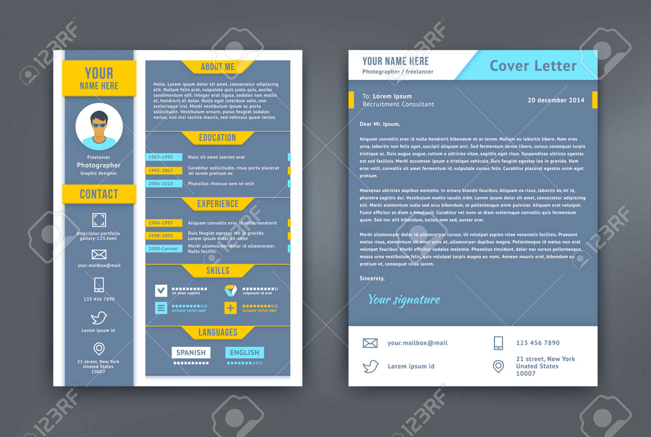 Resume And Cover Letter Or Cv Template. Flat And Material Design ...