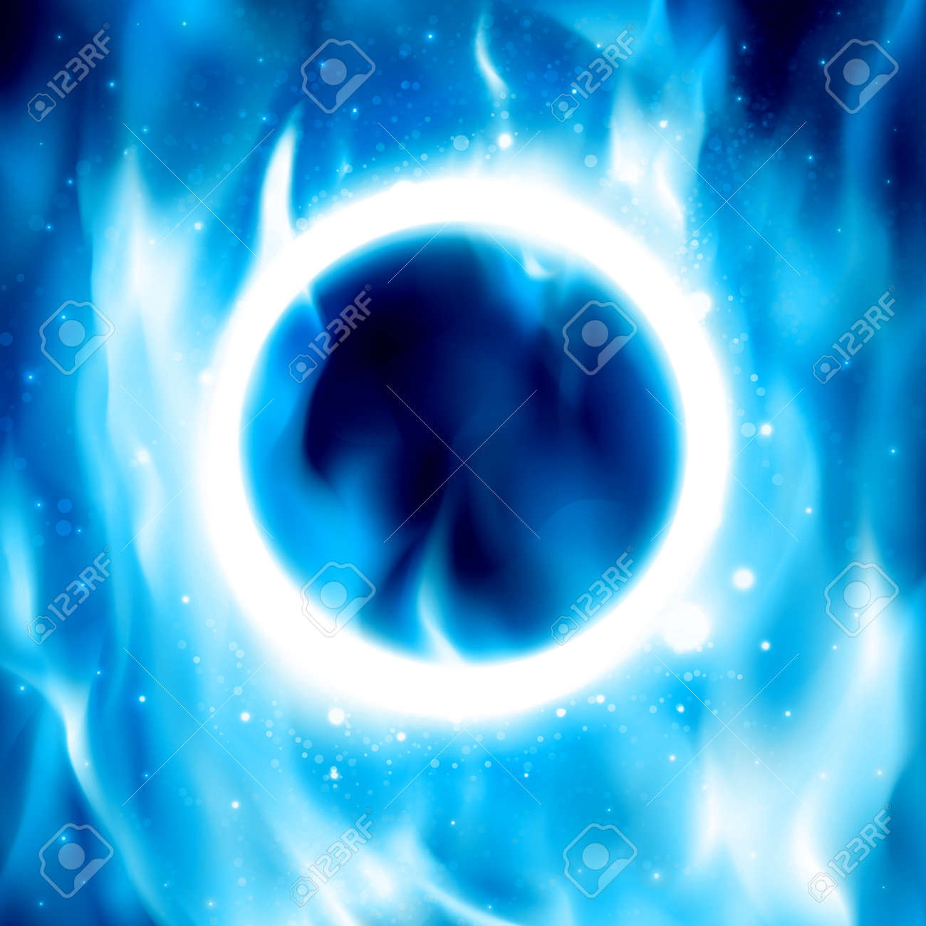 Blue Ring Of Fire. Vector Illustration. Abstract Background With Fire  Flames And Copyspace.