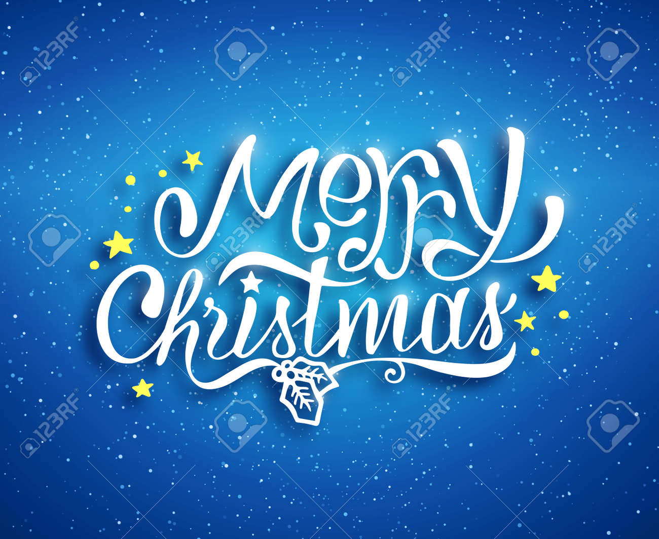 Merry christmas text lettering for greeting card prints and merry christmas text lettering for greeting card prints and web banner blue blurred background kristyandbryce Image collections