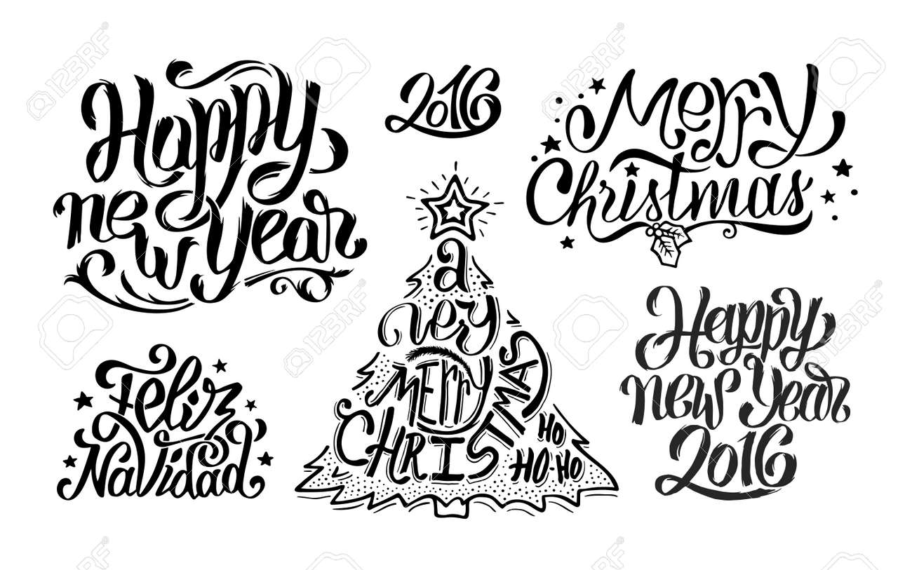 Merry Christmas Feliz Navidad And Happy New Year Text Typography