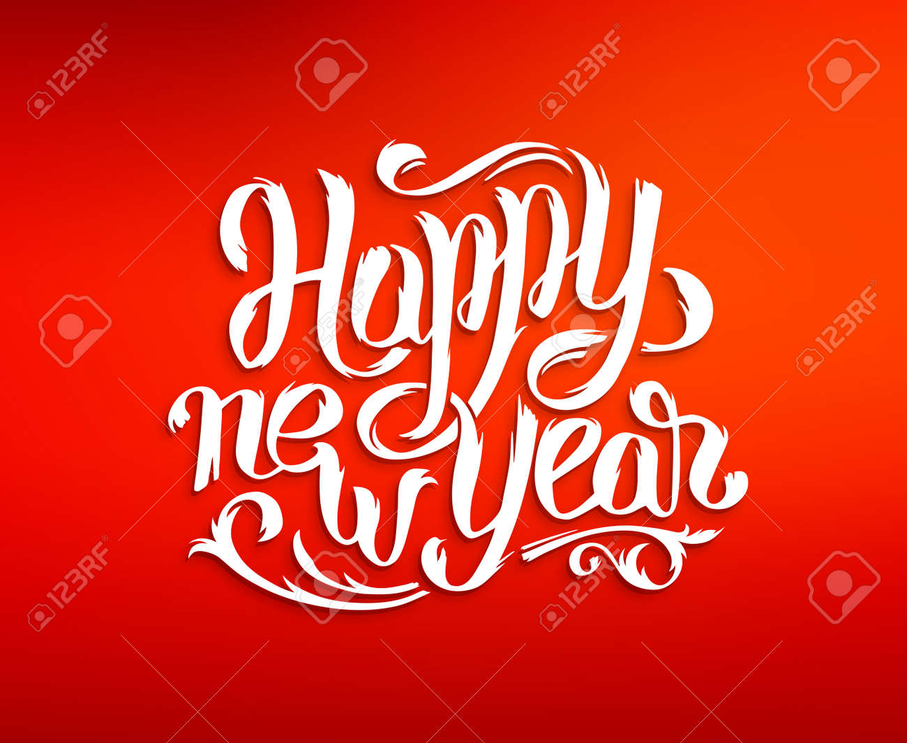 Happy New Year 2016 Greeting Card Design Red Blurred Background