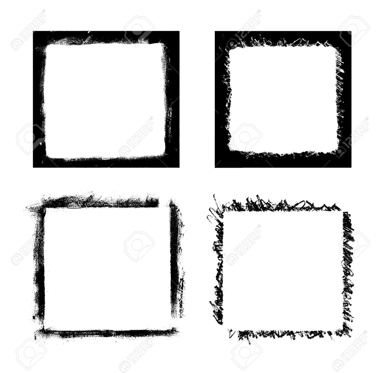 Black Paint Distressed Frame Overlay Texture. Ink Blots Isolated ...