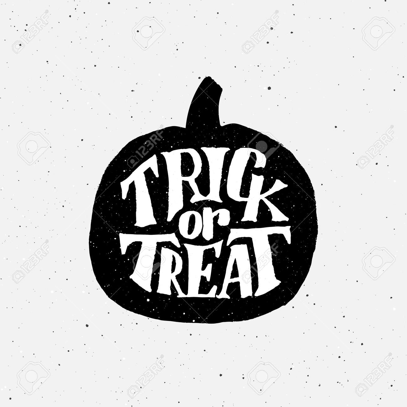 Halloween Trick Or Treat Silhouette.Vintage Poster For Halloween Party With Typography On Pumpkin