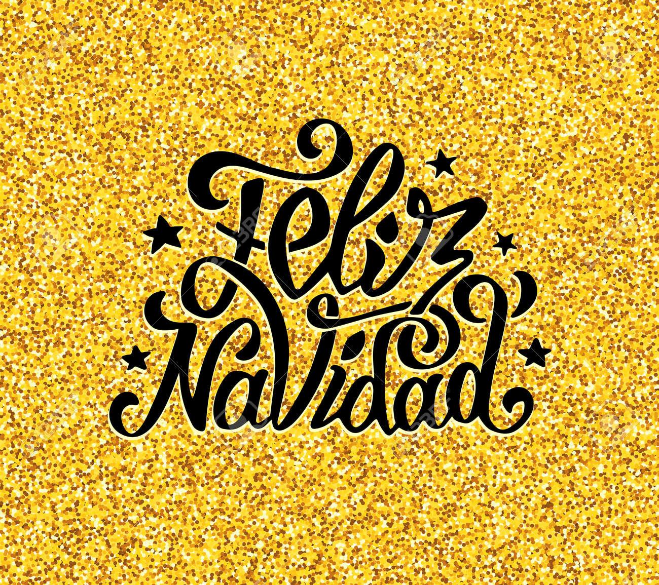 Feliz Navidad Greetings On Golden Confetti Background Merry