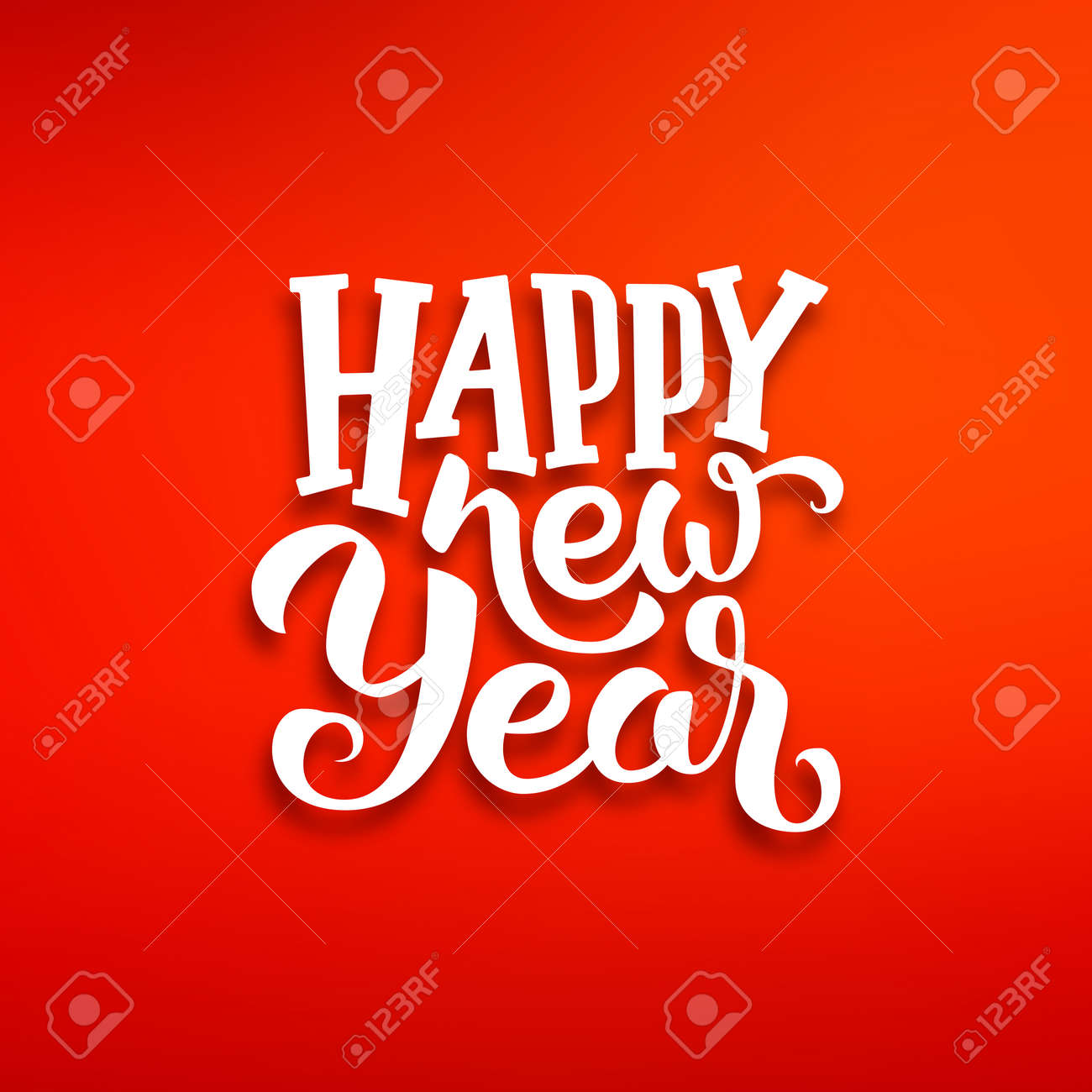 Happy New Year Greeting Card Design With White Lettering On Red
