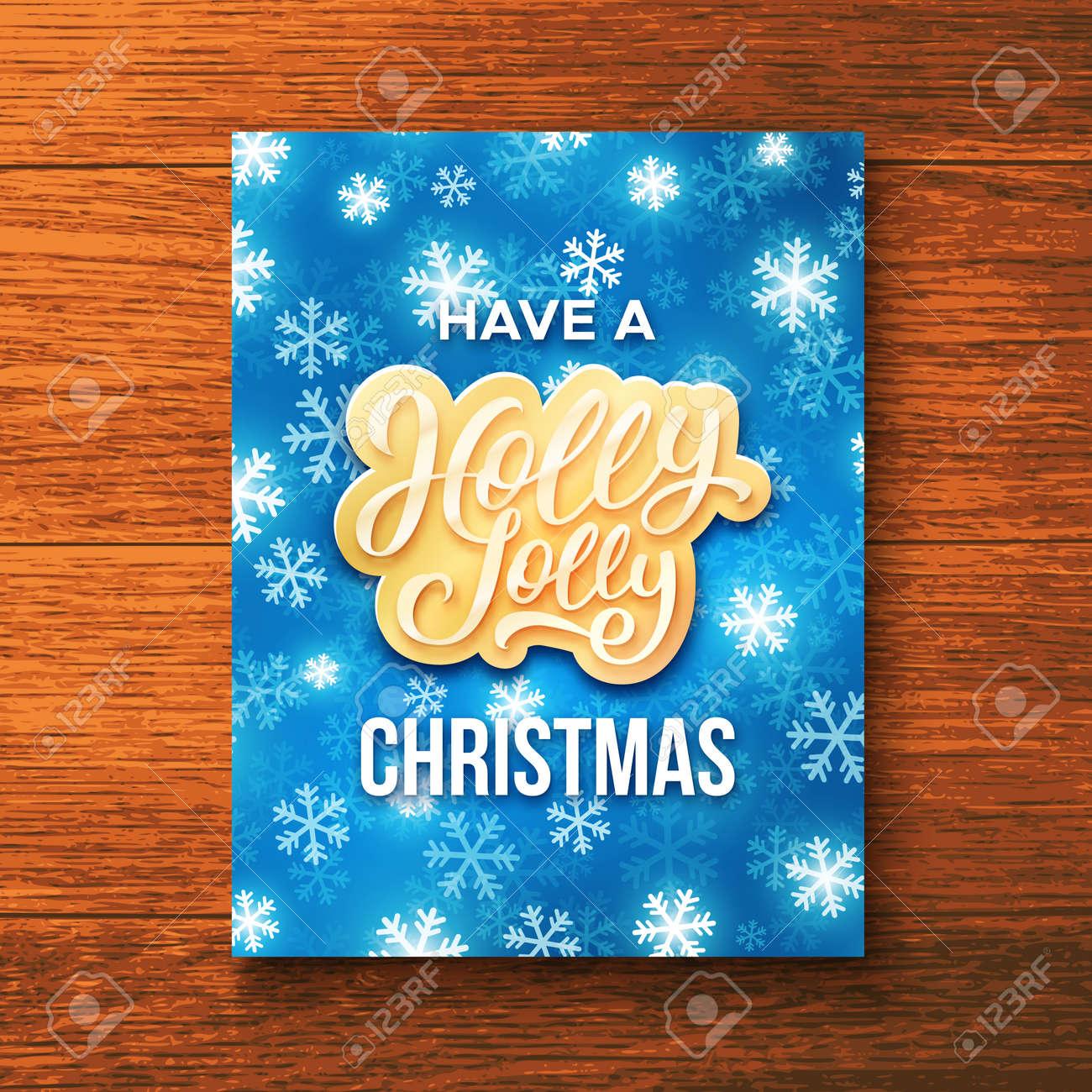 Have A Holly Jolly Christmas Season Greetings On Festive Blue