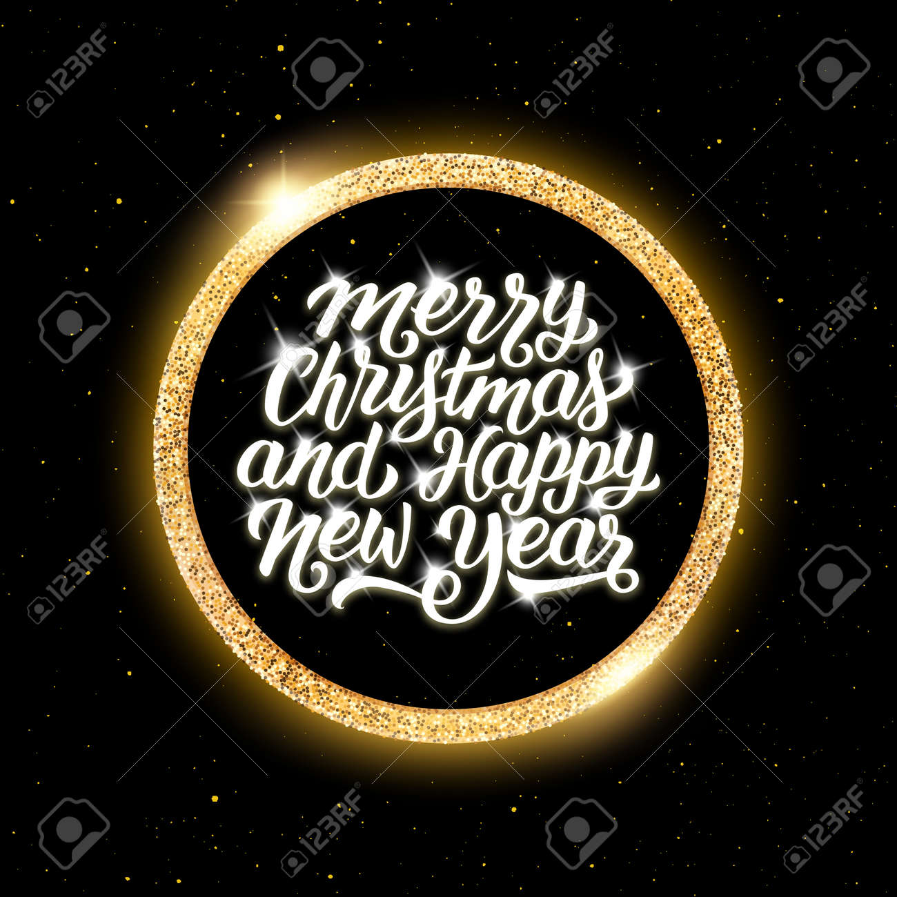 Merry christmas and happy new year text in round golden frame merry christmas and happy new year text in round golden frame on black background with yellow m4hsunfo