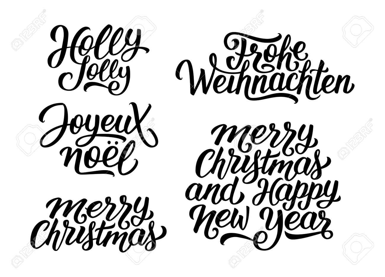 Frohe Weihnachten Und Happy New Year Vektor-Schriftzug Mit ...