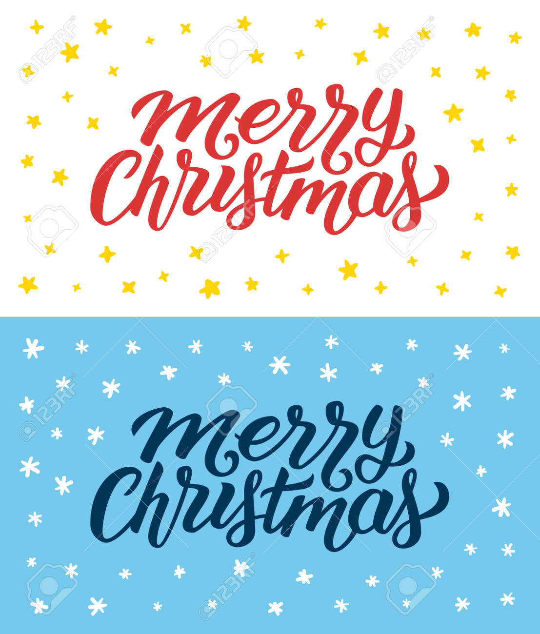 Merry christmas vintage flat greeting cards or flyers set with merry christmas vintage flat greeting cards or flyers set with hand lettering calligraphic text with m4hsunfo Image collections