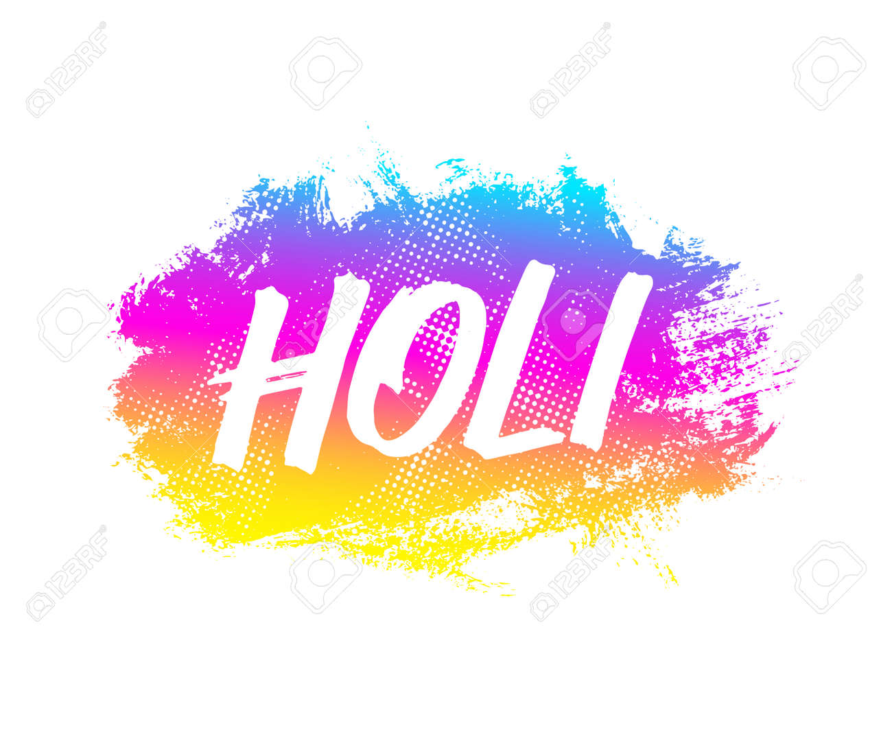 Colorful Artistic Badge With Text For Holi Festival Decoration Vector Banner Design Celebration Of