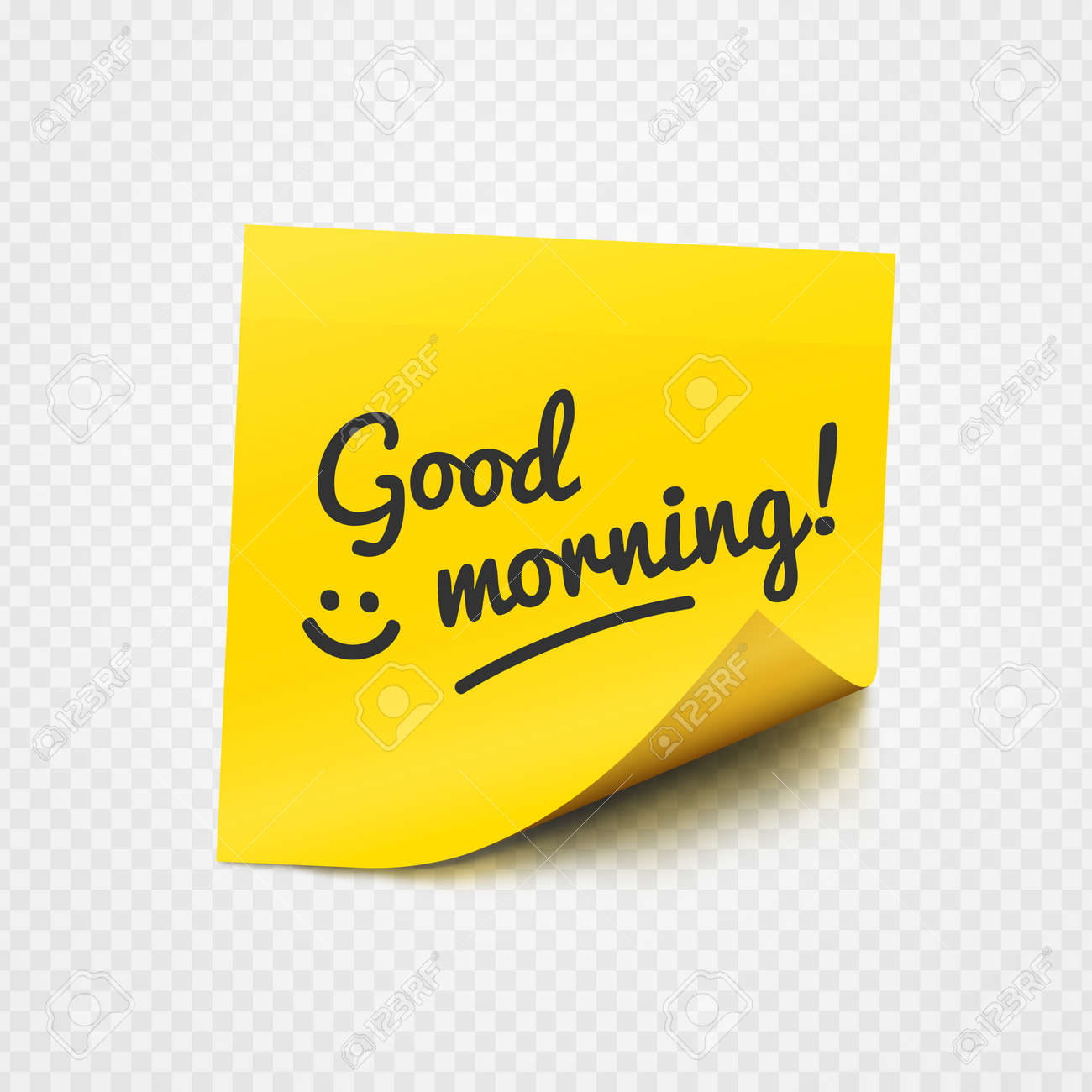 Good Morning Text And Smile Sign On Yellow Sticker Over Transparent
