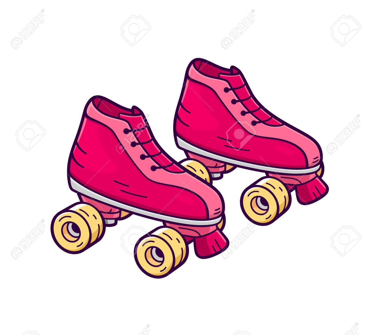 retro quad roller skates royalty free cliparts vectors and stock rh 123rf com roller skating clipart free roller skating cartoon characters