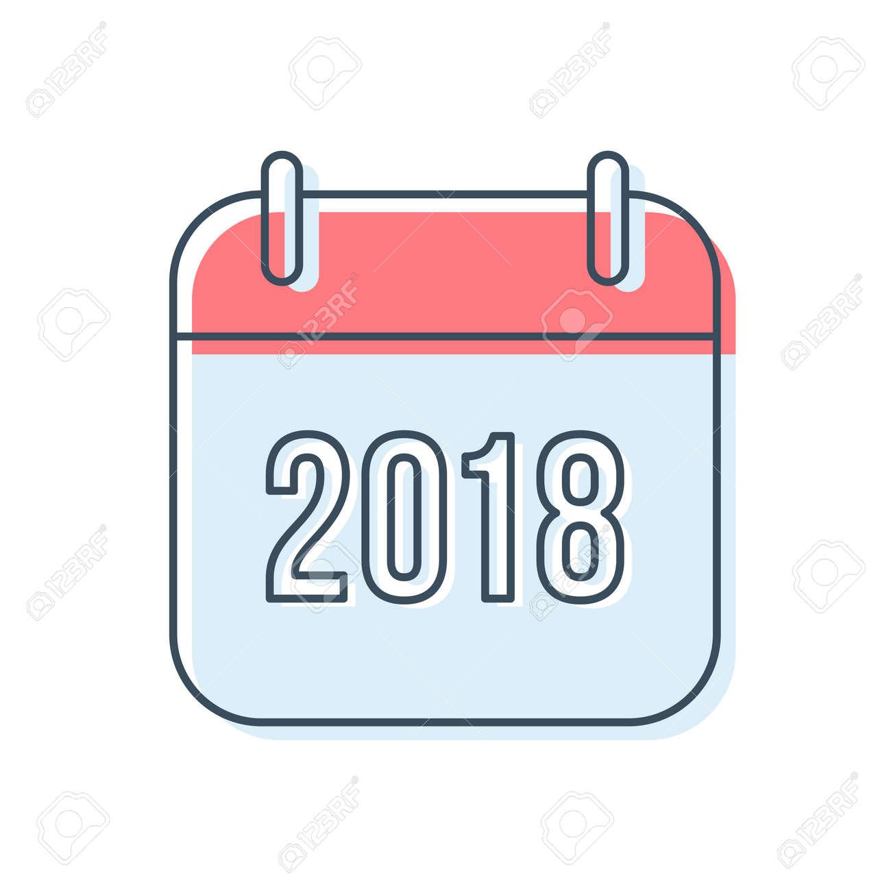 Calendario A Strappo.Felice Anno Nuovo 2018 Icona Del Calendario A Strappo In Stile Linea Piatta Isolato Su Priorita Bassa Bianca Disegno Del Simbolo Di Promemoria Per