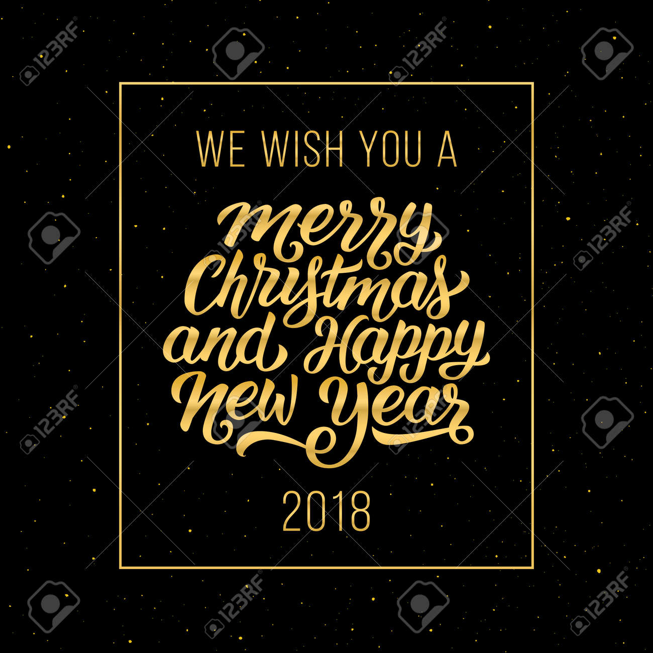 vector we wish you a merry christmas and happy new year 2018 gold text in frame on black background vector illustration with lettering for winter