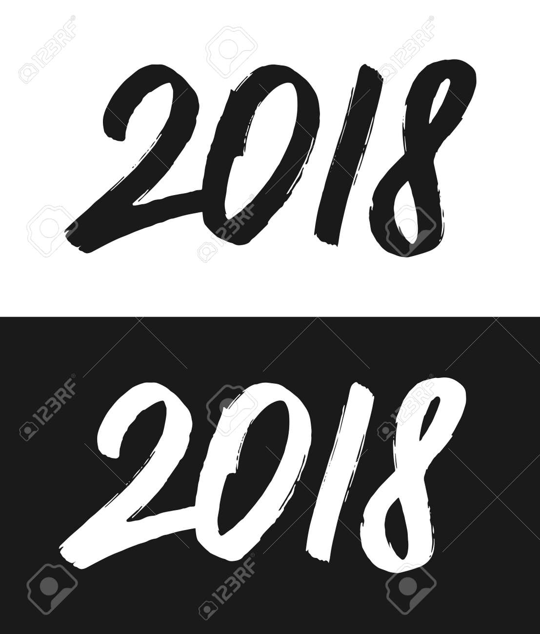 happy new year 2018 greeting card template hand drawn calligraphic