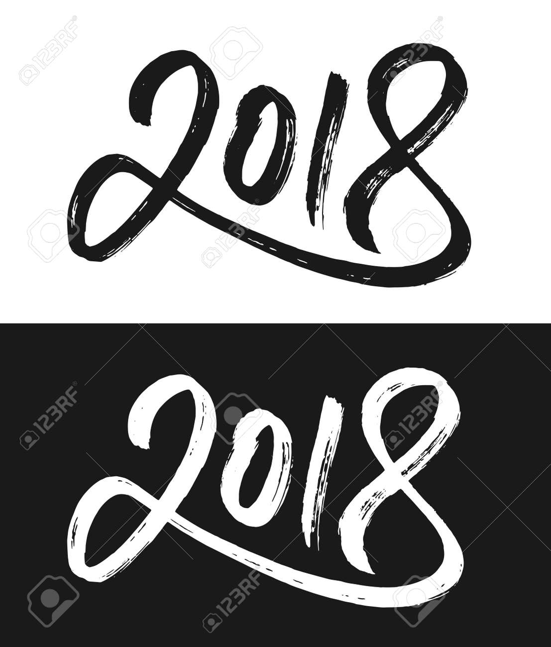 Happy New Year 2018 Greeting Card Template. Hand Drawn Calligraphic ...