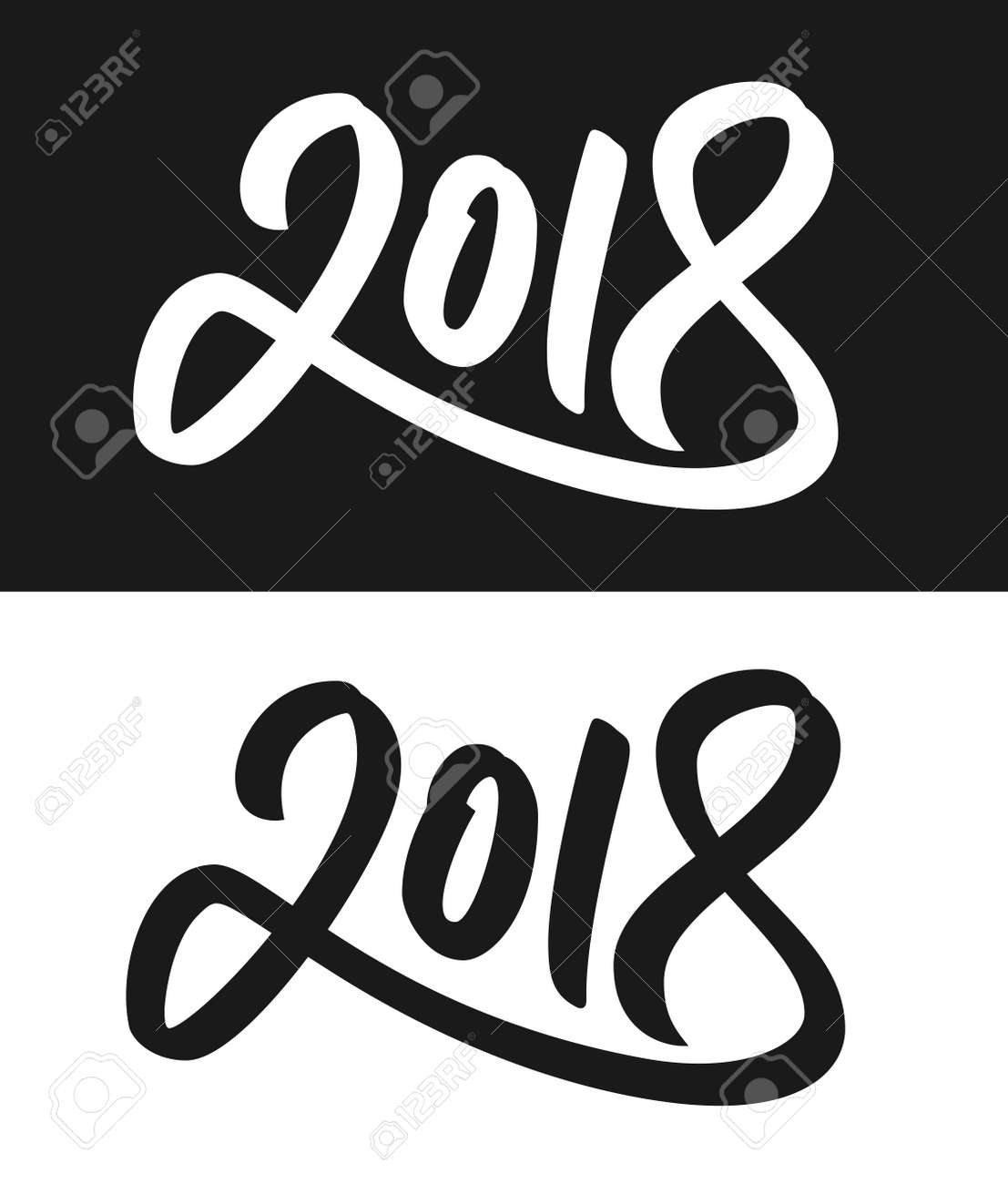 happy new year 2018 greeting card template calligraphic number