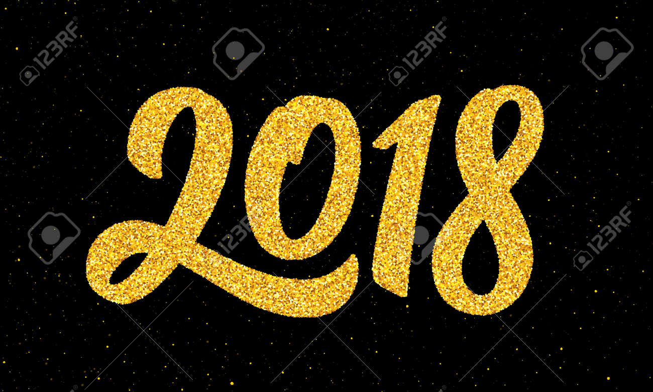 happy new year 2018 greeting card design template with gold text on black background calligraphy