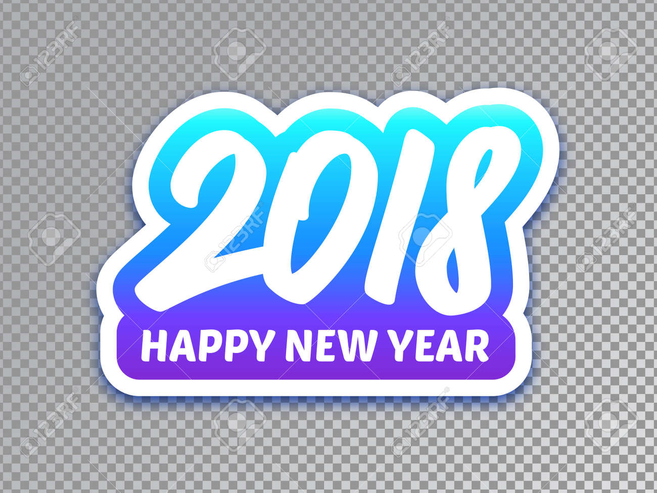 happy new year 2018 paper banner with typography on transparent background vector carving art style