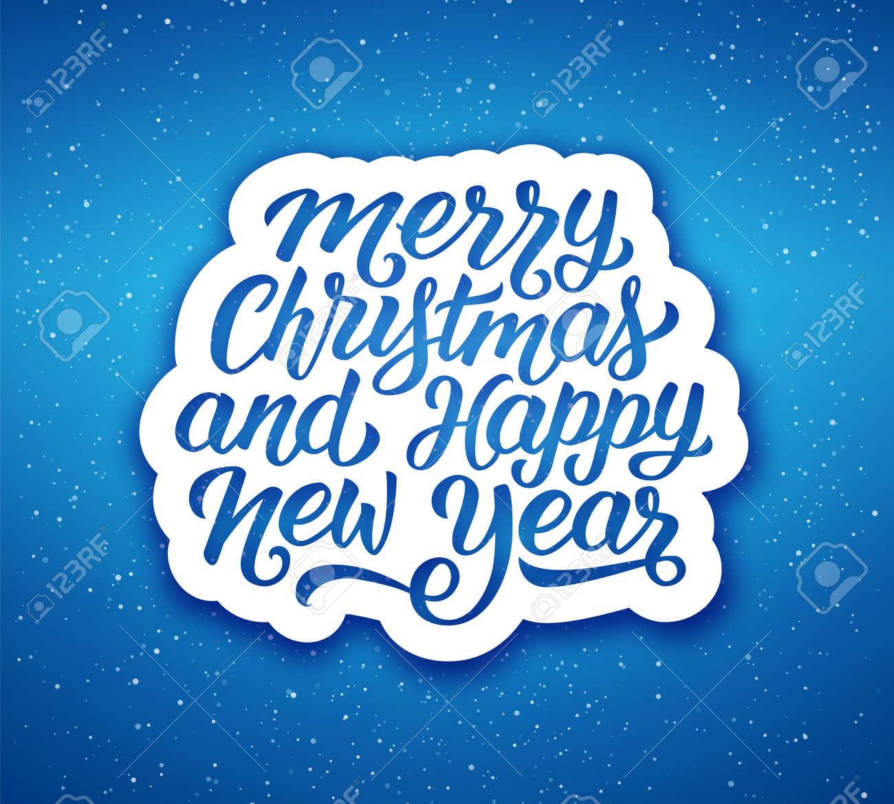 Merry Christmas And Happy New Year Lettering Text On Label Over