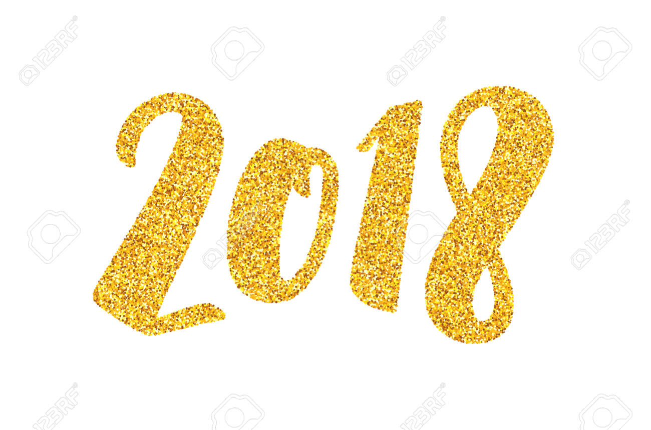 happy new year 2018 greeting card design template with golden text on white background calligraphy