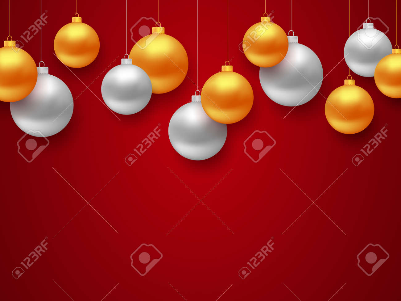 illustration new year 2018 banner with border of gold and silver color christmas balls and place for text on red background vector illustration