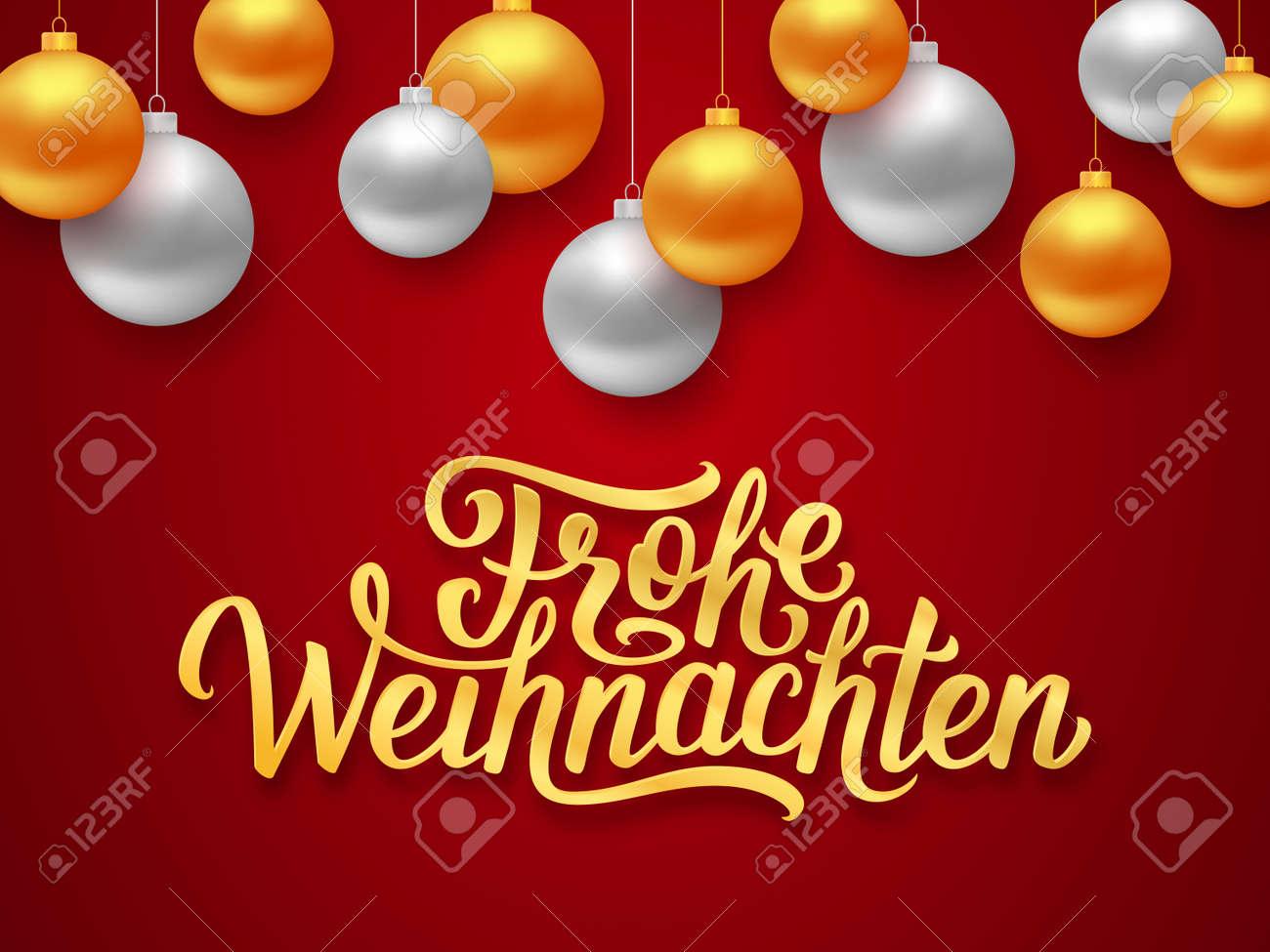 Frohe Weihnachten Deutsch Joyeux Noel Texte De Salutations De Saisons Sur Fond Rouge Avec Des Boules De Suspension D Or Et D Argent Illustration