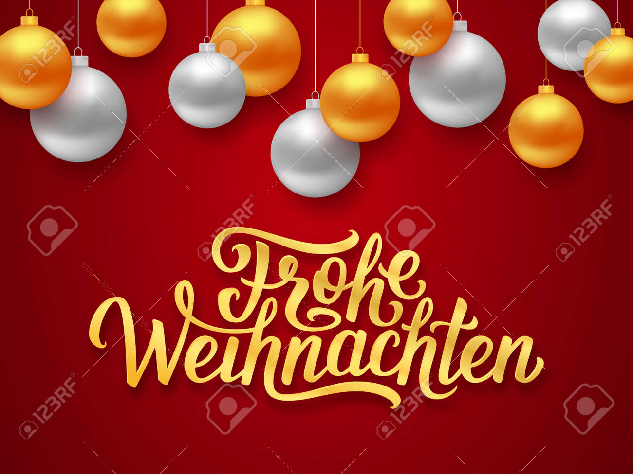 Frohe weihnachten deutsch merry christmas seasons greetings text frohe weihnachten deutsch merry christmas seasons greetings text on red background with gold and silver hanging m4hsunfo