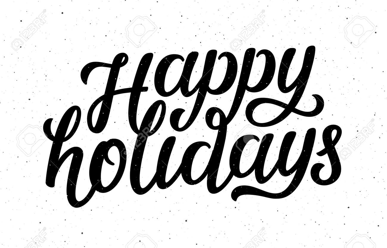 Happy Holidays calligraphy lettering text on white background