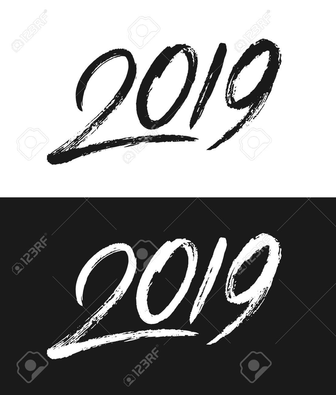 happy new year 2019 greeting card template handwritten calligraphy