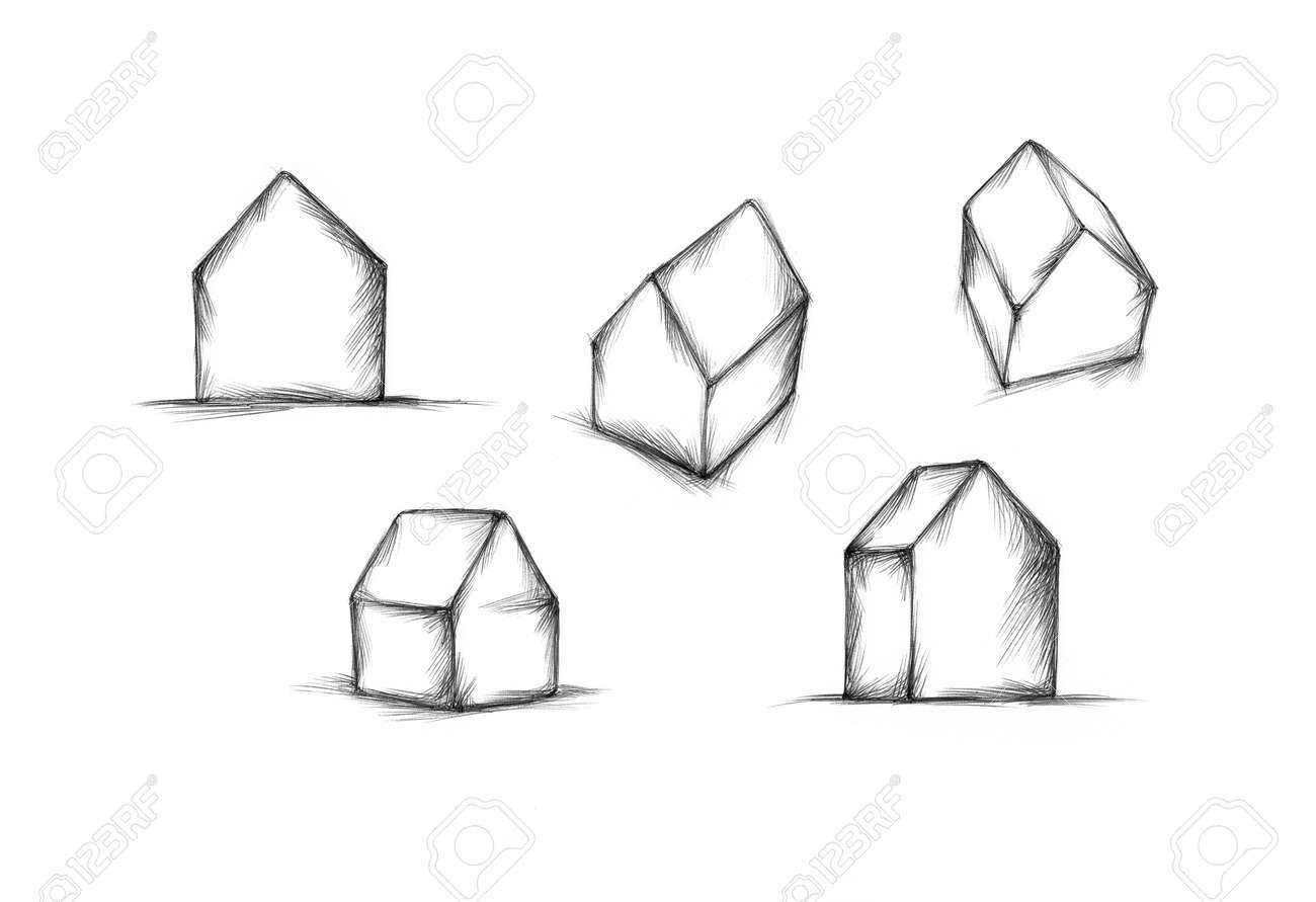 いくつかの小さなシンプルな家のイラスト の写真素材画像素材 Image