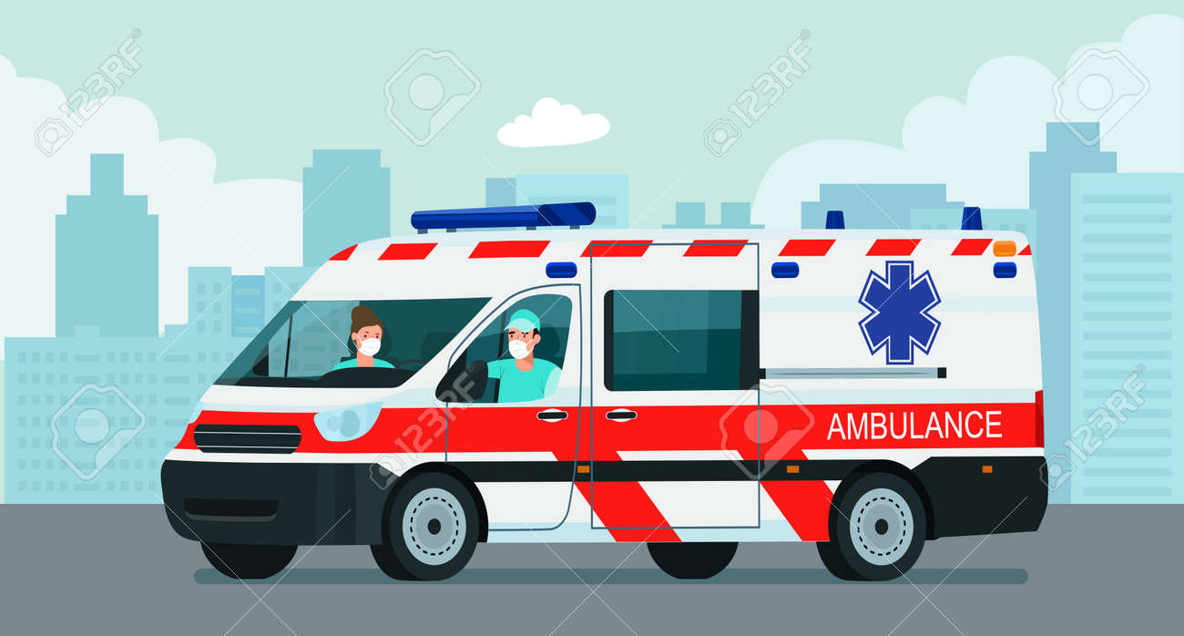 Ambulance van with a driver and doctor in a medical mask against the background of an abstract cityscape. Vector flat style illustration. - 158768030