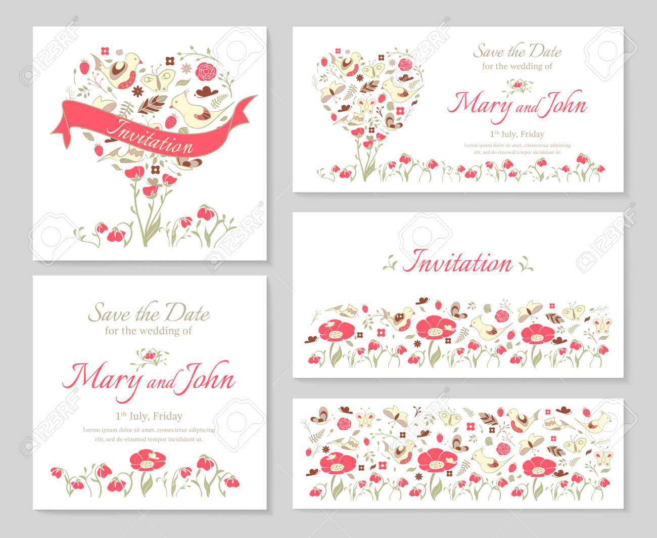 establecimiento de plantillas para invitaciones de boda y tarjetas de diseo con el corazn de flores
