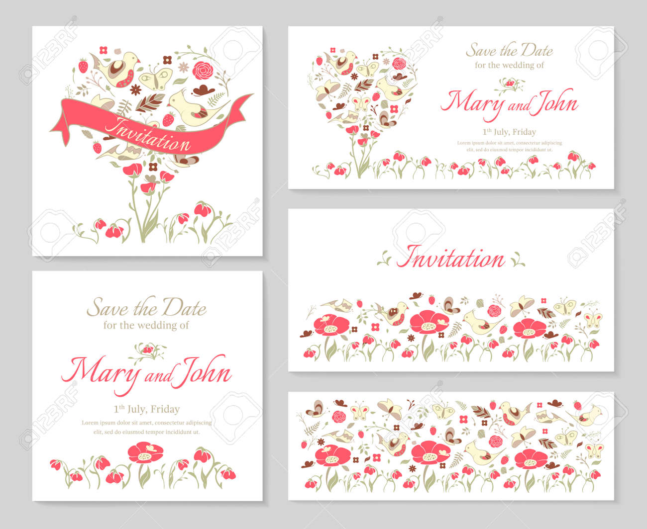 Set Templates For Design Wedding Invitations And Cards With Heart ...