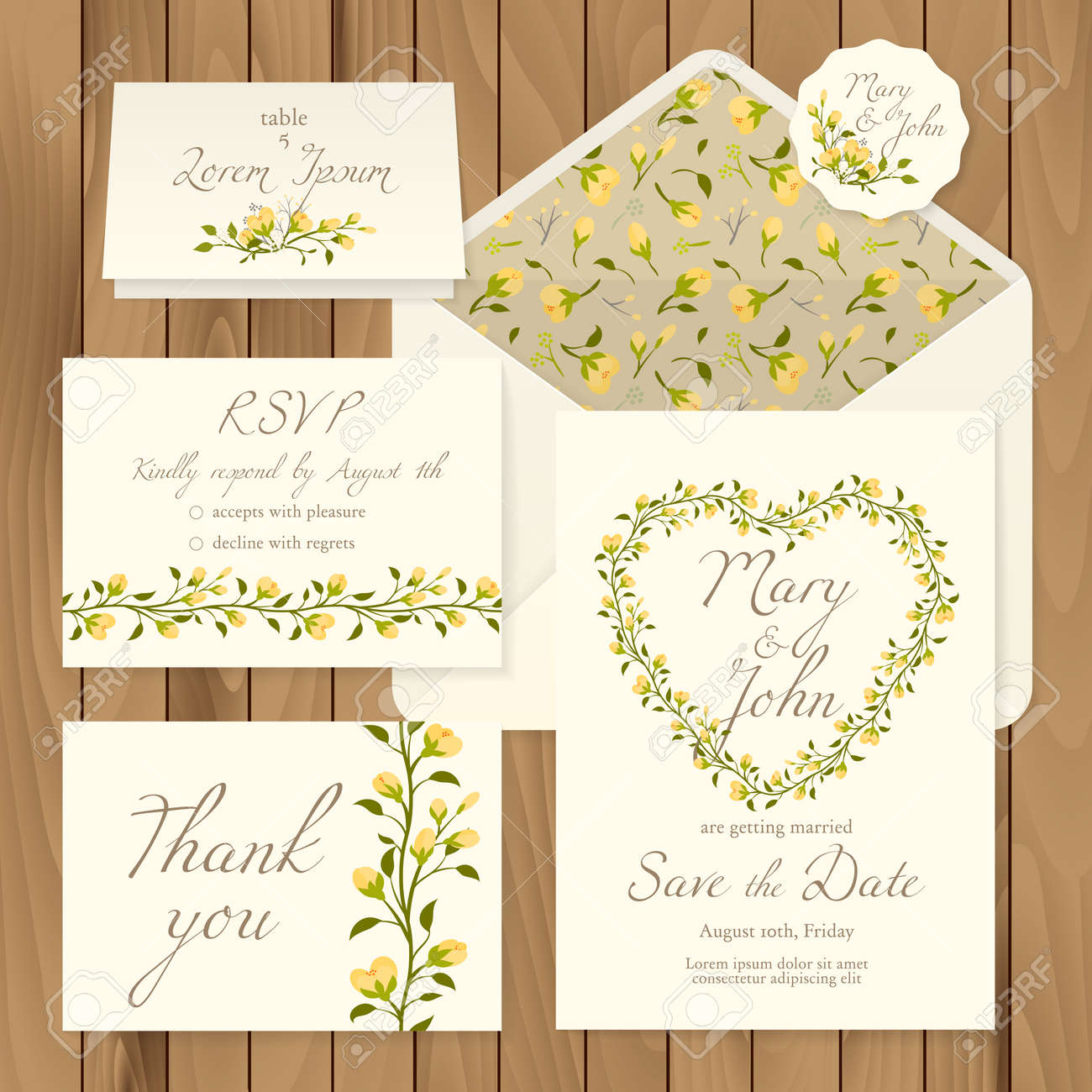 vector vector set of vintage floral wedding invitation templates card response save the date thank you table number label and envelope pattern