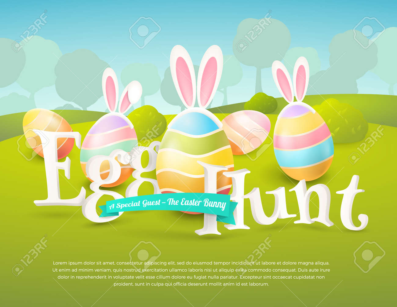 Vector Cute Poster For Easter Egg Hunt With Colored Eggs And Coloring Pages Adults