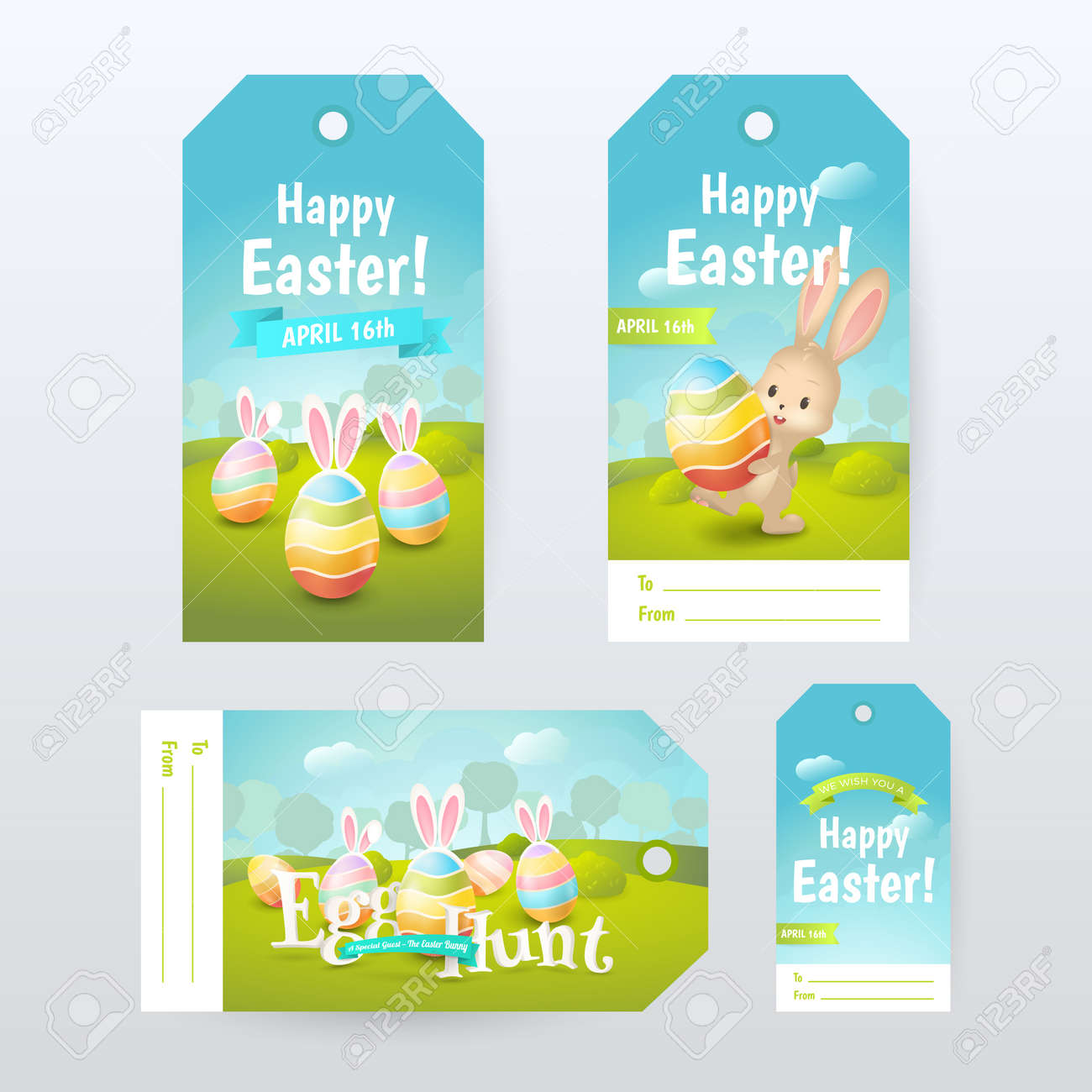 Vector set of gift tags with title happy easter and egg hunt vector vector set of gift tags with title happy easter and egg hunt with colored eggs and cute bunny negle Choice Image