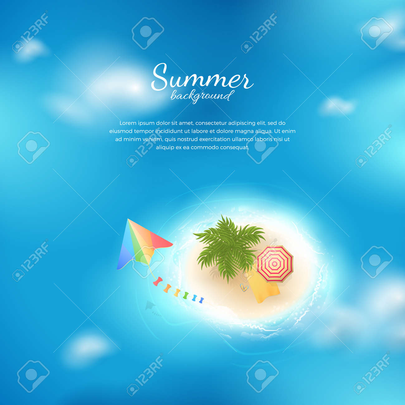 eea9a8f350454 Vector Background With Top View Of Tropical Island With Clouds ...