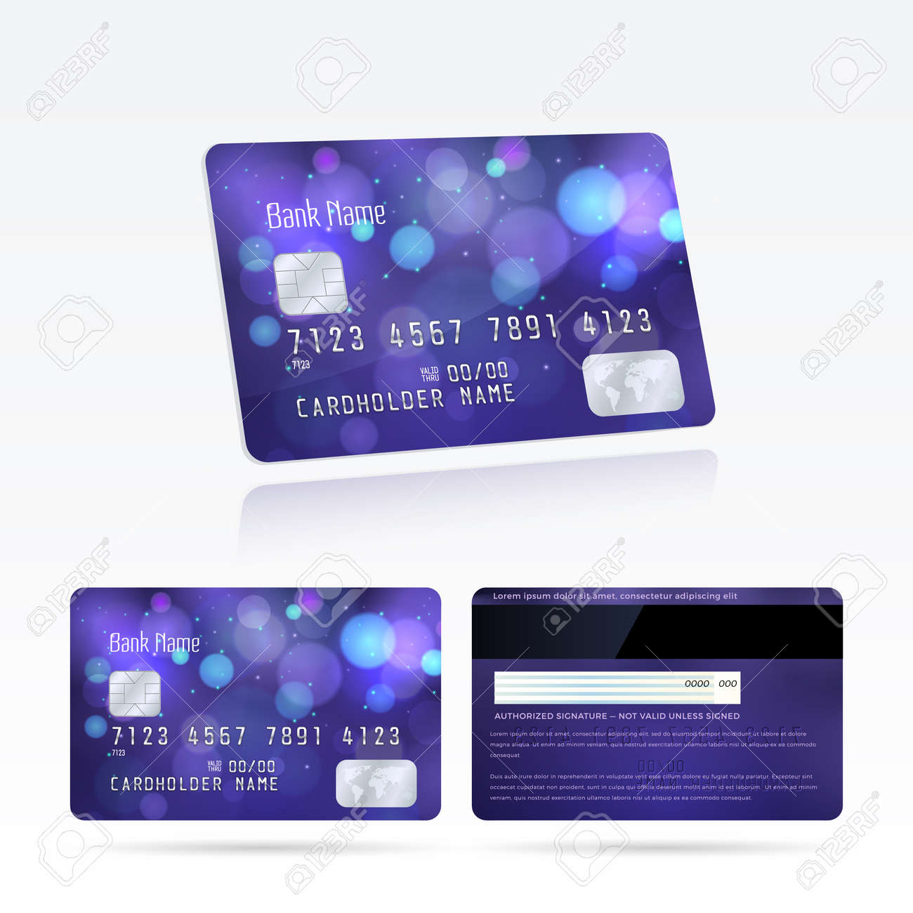 Vector template and design credit cards with effect bokeh on vector vector template and design credit cards with effect bokeh on the violet background modern layout with lights and blur effect for business reheart Choice Image