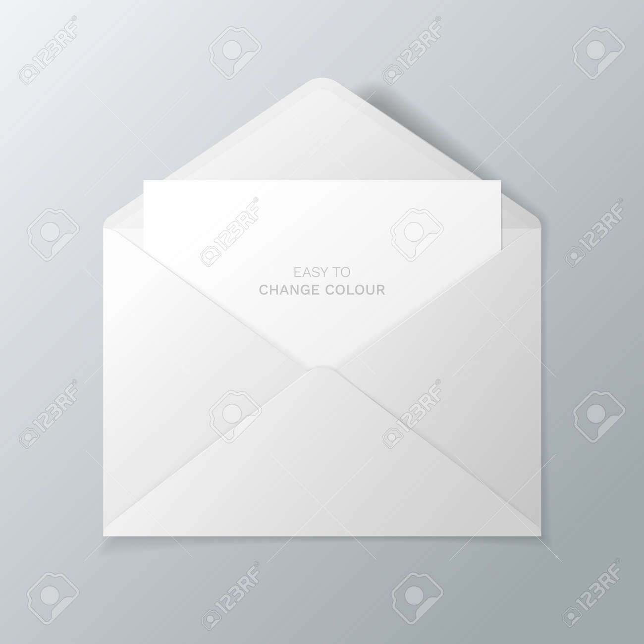Open white envelope with invitation card vector realistic mockup open white envelope with invitation card vector realistic mockup isolated from the background easy stopboris Choice Image
