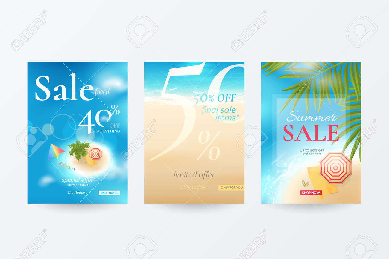7c9e346ad765f Vector - Vector set of banners for summer sale with top view of tropical  island