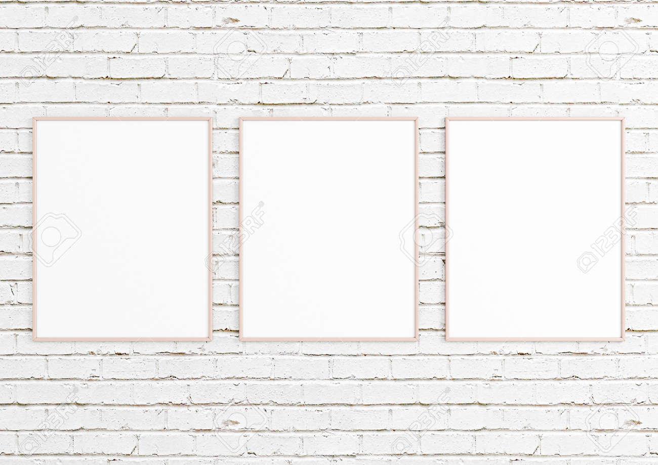 Triple 8x10 Vertical Pink Frame mockup on white brick wall. Empty picture frame mockup on white brick background. 3D Rendering. - 166946606