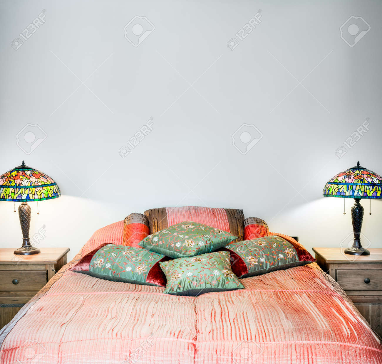 Beautiful Bedroom Interior Detail With Blank Wall For Your Text Stock Photo Picture And Royalty Free Image Image 26492311