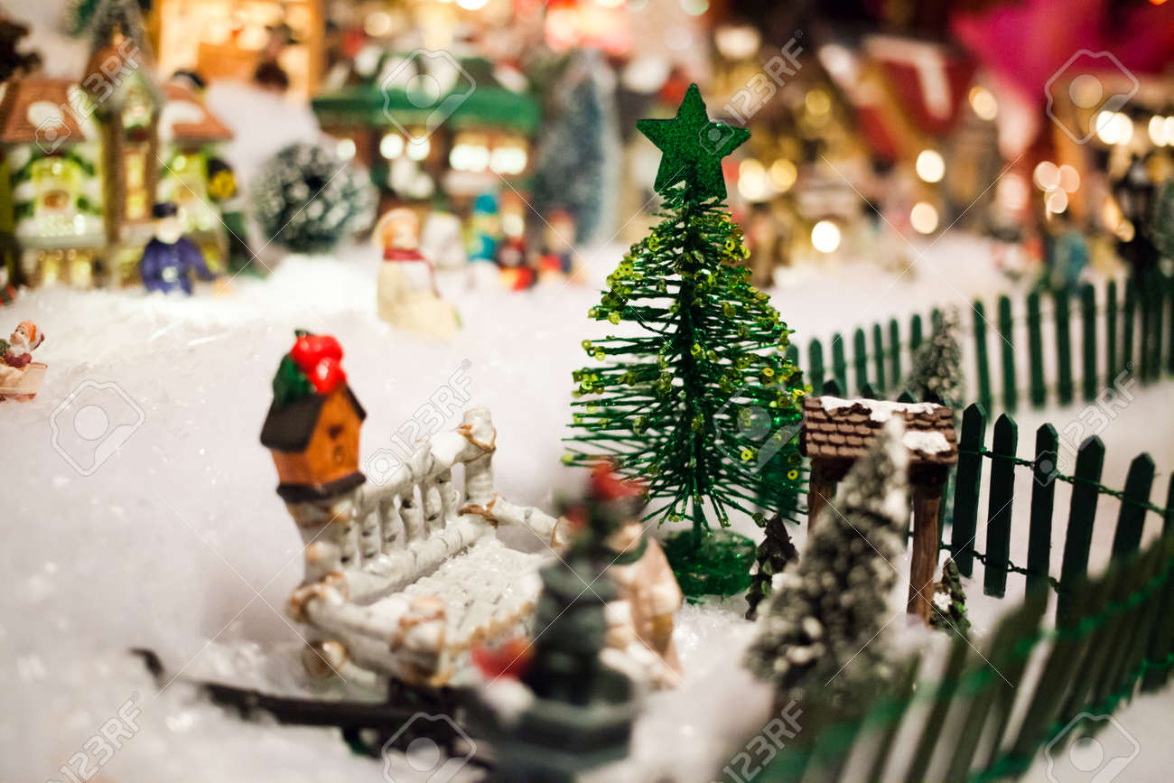 Miniature Christmas Village Under Xmas Tree Closeup Stock Photo Picture And Royalty Free Image Image 37165490