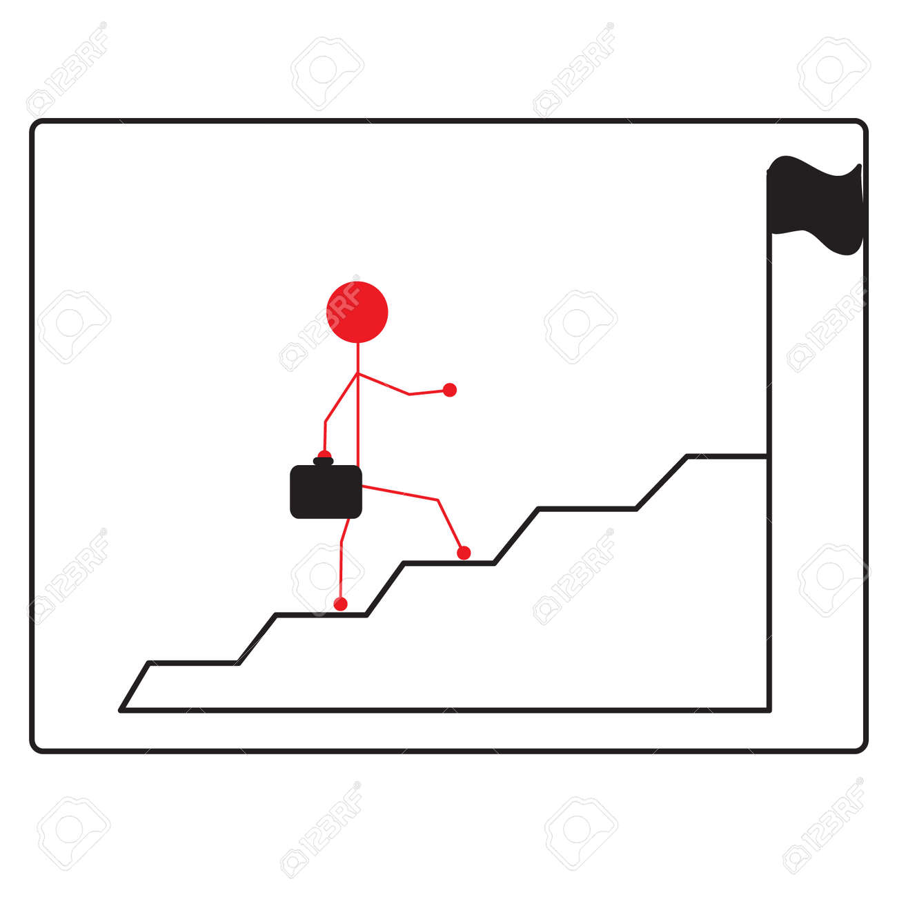Business Man Climbs Up Stair Steps To Achieve Success Goa Stock Vector    31343488