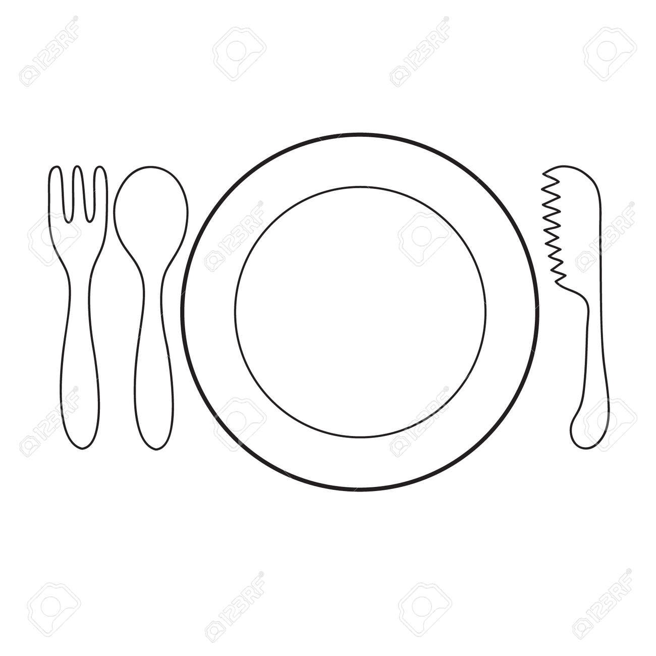 Empty Plate With Spoon And Knife Fork On A White Background Royalty
