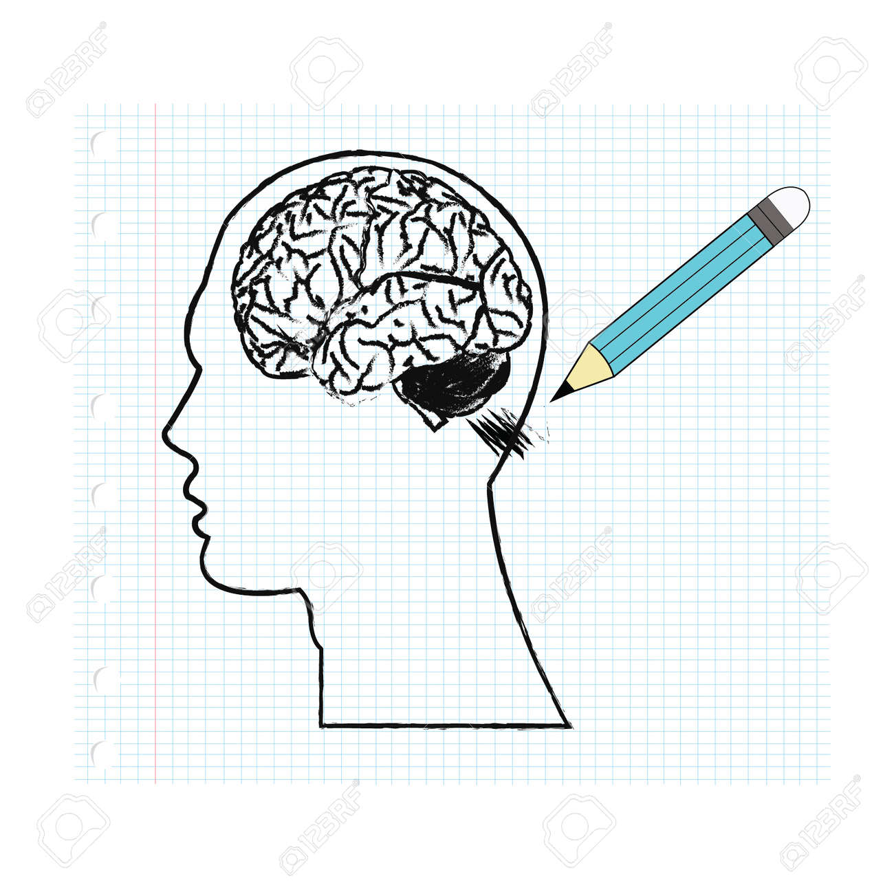 Paper With A Pencil Drawing Of The Human Brain Royalty Free Cliparts