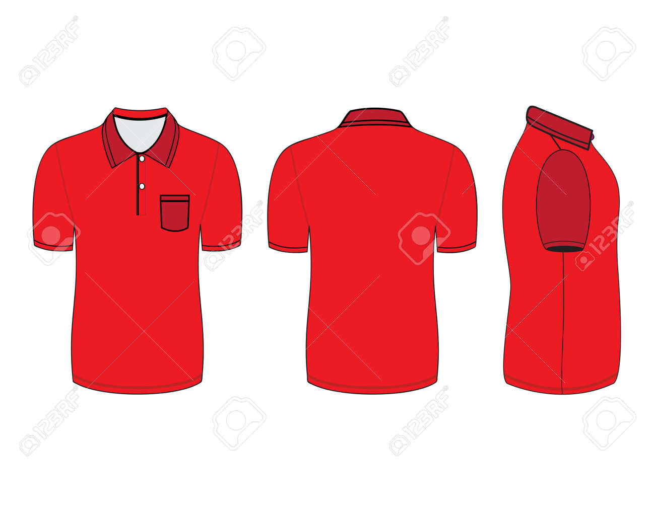 Polo Shirt Design Templates (front, Back And Side Views). Vector ...